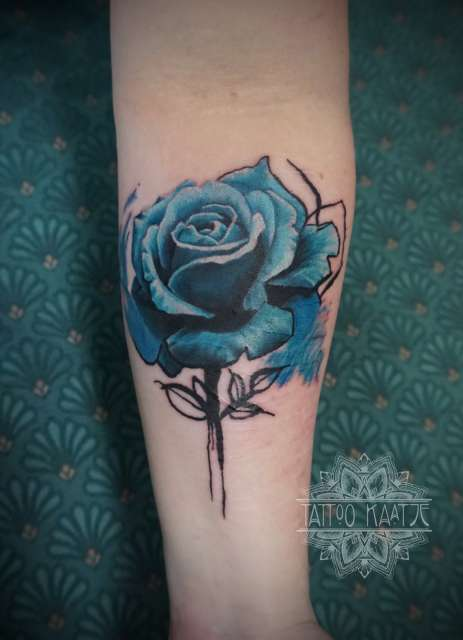 rose - tattoo - realistic - aquarel - watercolour - blue