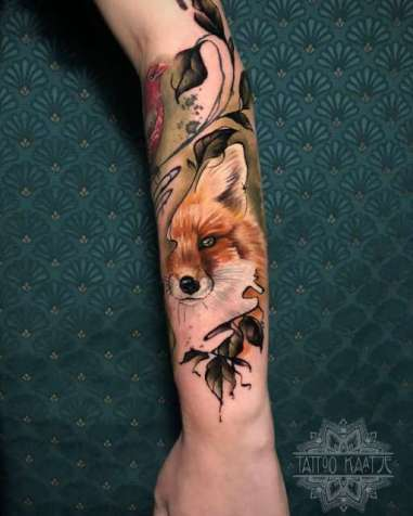 fox - foxtattoo - colourtattoo - abstract tattoo - watercolour - realisme
