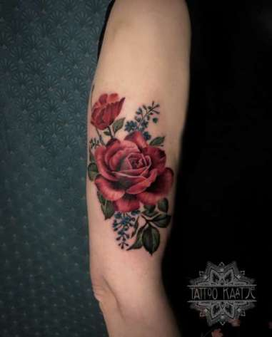 rose tattoo - royalalbert inspired - teacup tattoo - flower - realisme - colourtattoo