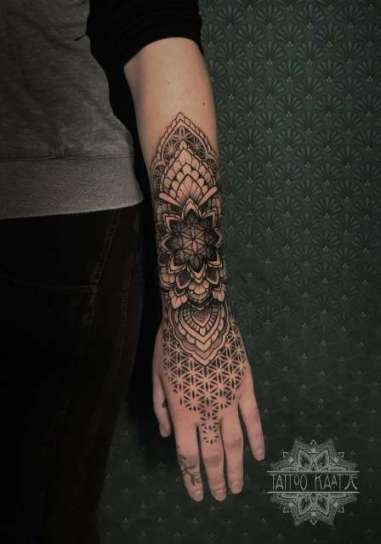 dotwork - mandala - lowerarm - flower of life - geometric - ornamental - tattoo