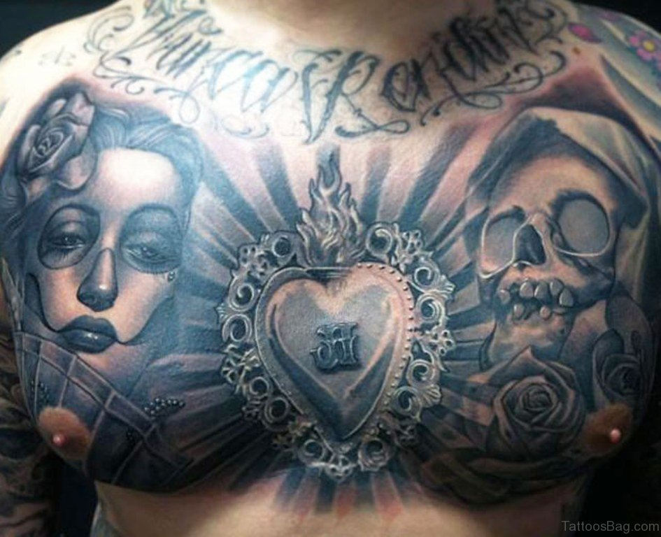 Skeleton Head Wallpaper 3d 69 Cool Chest Tattoos