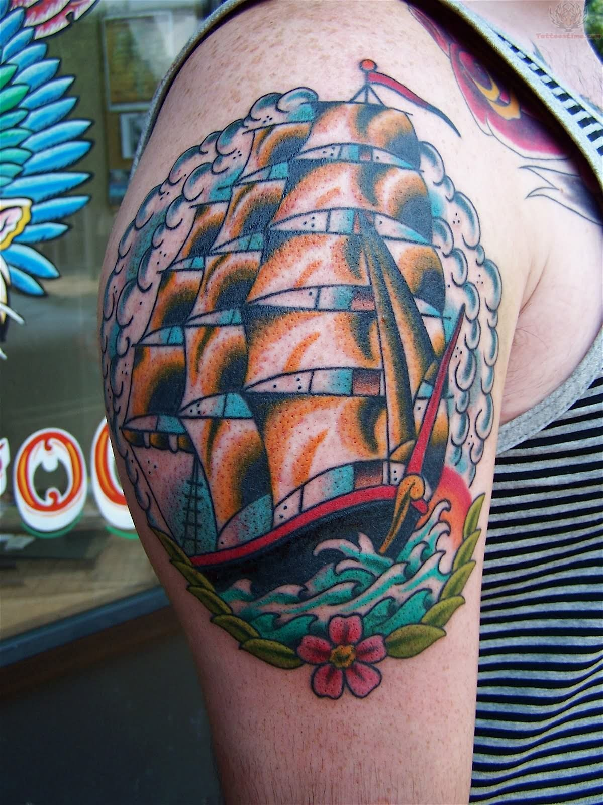 Smiley Girl Wallpaper Neo Traditional Pirate Ship Tattoo
