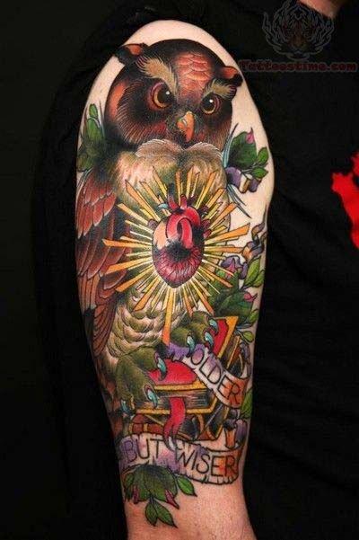 Owl Arm Tattoo Designs For Men