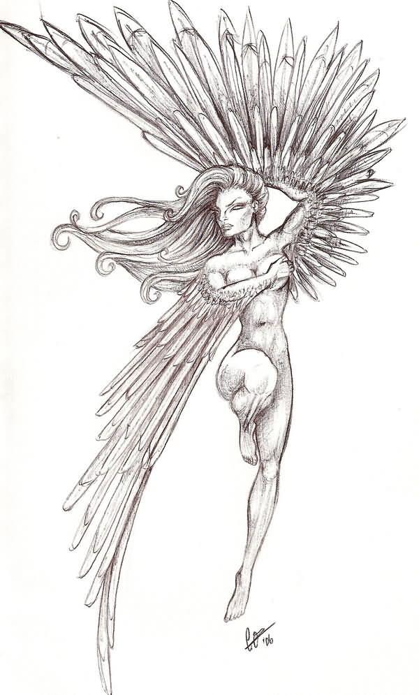 20 angel wings drawings