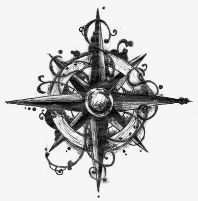 Amazing Compass Tattoo Design Sample