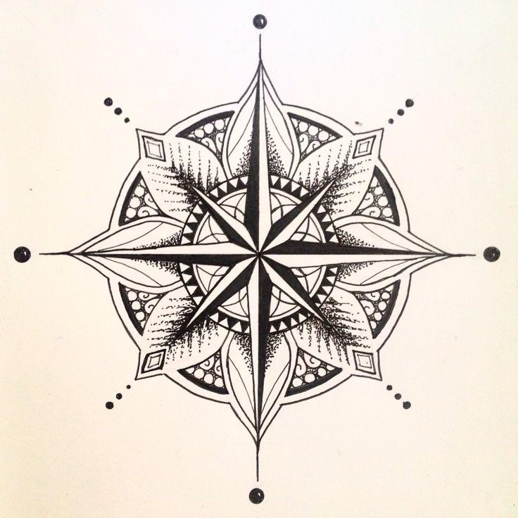 Mandala Compass Tattoo Design