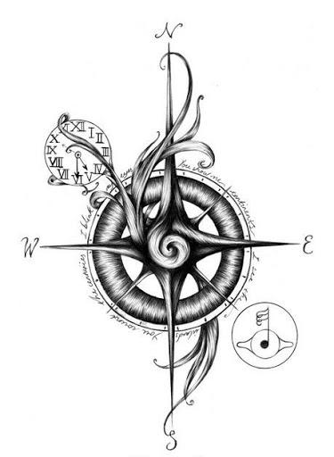 Unique Compass Tattoo Design