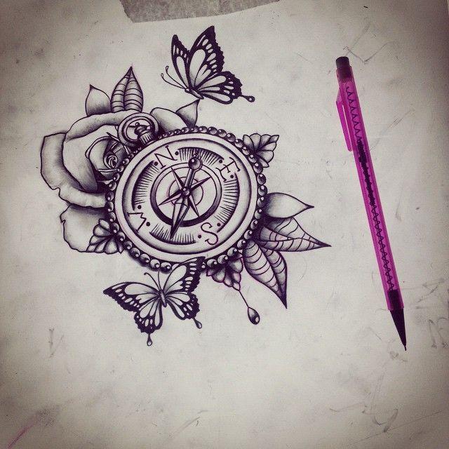 Rose And Compass Tattoo Design