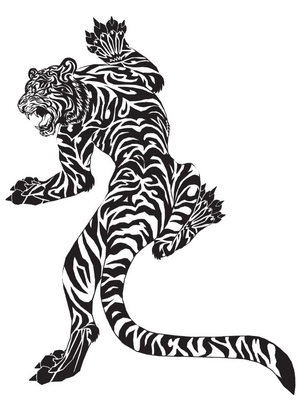Climbing Tribal Tiger tattoo art tigers Pinterest Tribal tiger - copy coloring pages of tiger face