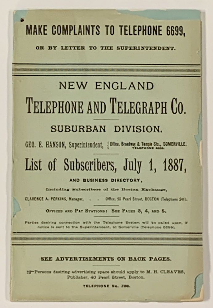 NEW ENGLAND TELEPHONE And TELEGRAPH Co Suburban Division LIST Of - business phone book