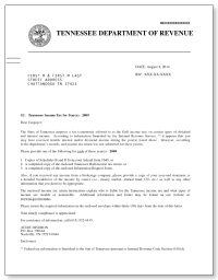 Tennessee Hall Income Tax Letter  Sample 1