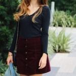 Burgundy Button Up Skirt