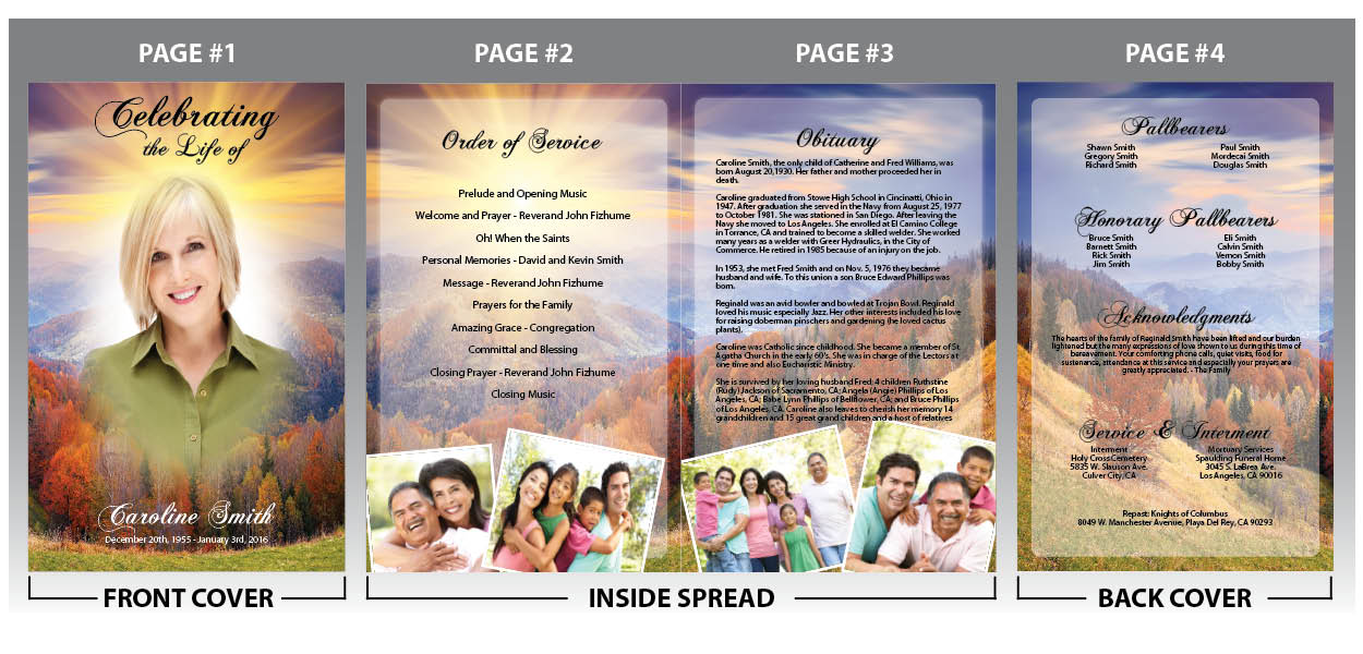 Professional online memorial program design of a peaceful hill scene - memorial program