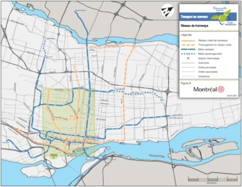 Proposed Tramway Network developed by the City of Montréal in 2007