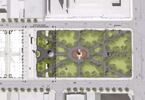 Bird's eye rendering of new Dorchester Square; note the pedestrian bridges
