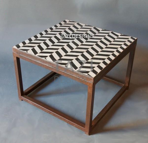 Mosaic Side Table 24  Herringbone Black & White  Tazi