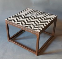 Mosaic Side Table 24  Herringbone Black & White  Tazi