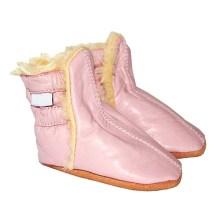 Chaussons bébé enfant en cuir souple Bottines fourrees rose TchooC
