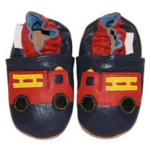 Chaussons bébé enfant en cuir souple Pompier TchooC