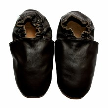 chaussons bébé enfant adulte en cuir souple noir Eko Tuptusie