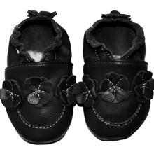 Collection unique noire Chaussons en cuir souple Eko Tuptusie