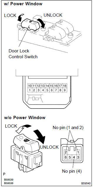 Toyota Corolla Repair Manual Inspection procedure - All door lock