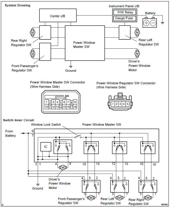 Toyota Corolla Repair Manual Inspection - Power window control