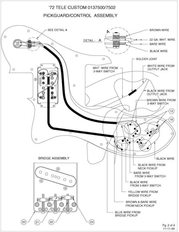 custom fender telecaster wiring diagram