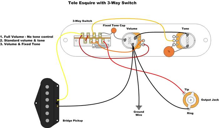 esquire wiring diagram single pu