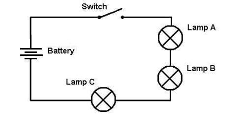 diagram showing two globes connected in parallel with a battery