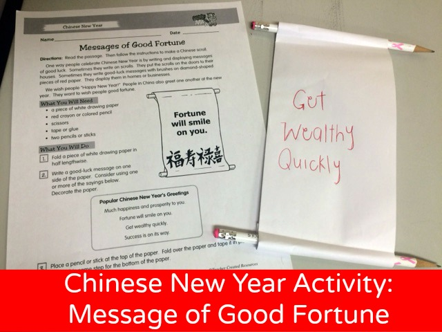 Chinese New Year Activity Message of Good Fortune \u2013 Teacher Created