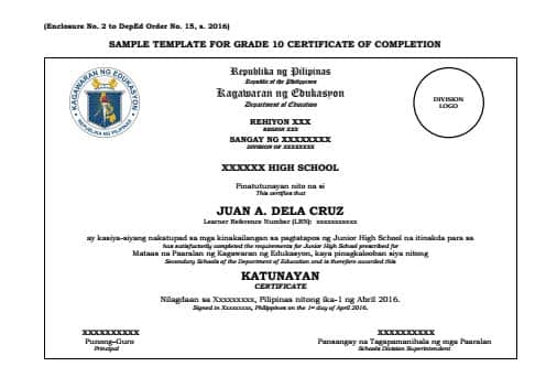 Clarifications and Additional Information to DepEd Order No 7, s - sample school certificate