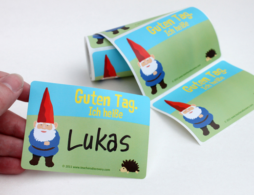 Gnome German Nametags Set of 36, German Teacher\u0027s Discovery