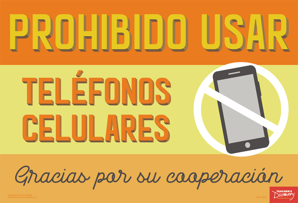No Cell Phones Spanish Mini-Poster, Spanish Teacher\u0027s Discovery