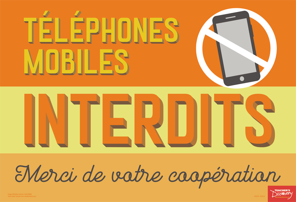 No Cell Phones French Mini-Poster, French Teacher\u0027s Discovery