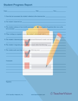 Student Progress Report Printable Tool for Teachers (Grades 3-12