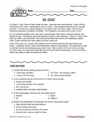 Theodor Seuss Geisel Biography - TeacherVision