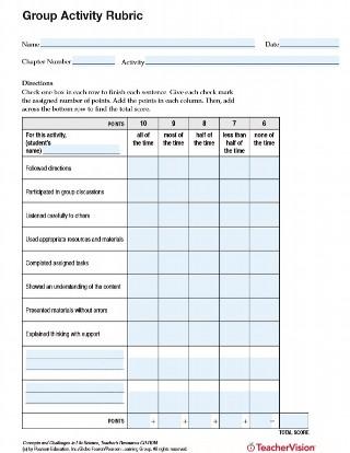 Group Activity Rubric - TeacherVision