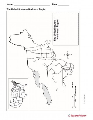 Map of Northeast United States - Geography Printable (1st-8th Grade - fillable us map