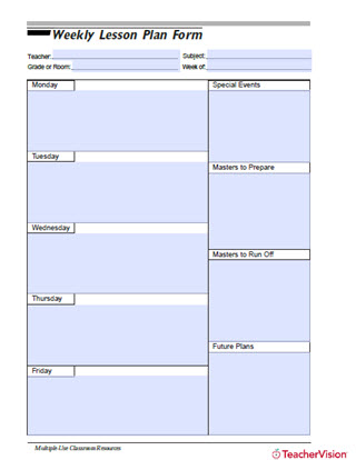 Weekly Lesson Plan Form Printable Tool for Teachers (Grades PreK-12