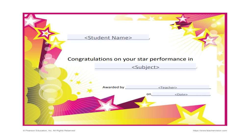 Printable Awards for Students Grades K-12 - TeacherVision