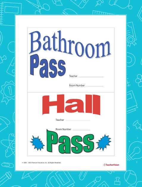 Bathroom Pass and Hall Pass - TeacherVision
