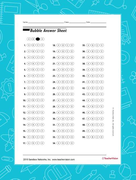 Bubble Answer Sheet for Tests (Grades K-12) - TeacherVision