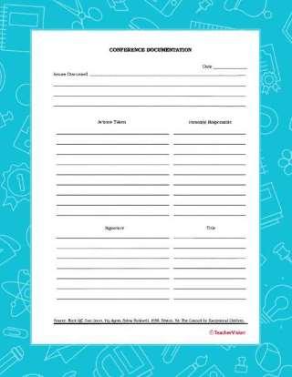 Parent-Teacher Conference Resources (Printables  Articles