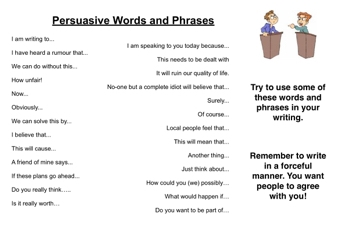 Persuasive Words And Phrases Teaching Ideas