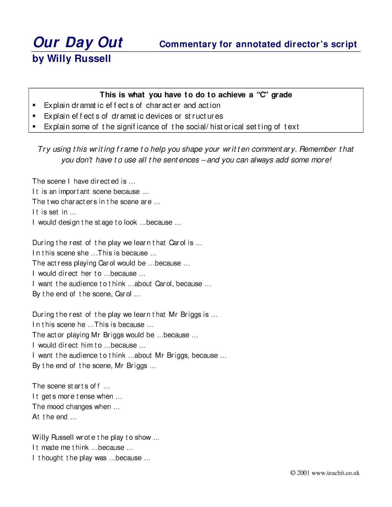 Complaint Letter Exle Ks2 28 Images And The Chocolate Our Day Out By Willy Russell Ks3 Plays Key Stage 3