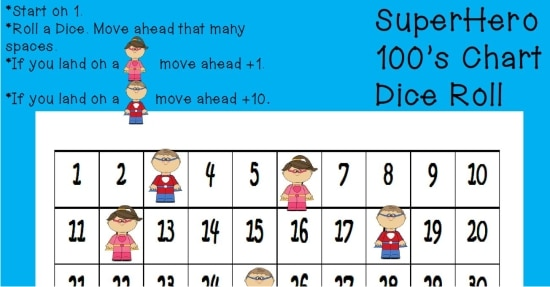 Superhero Hundreds Chart Game {Free Printable} - Teach Junkie - hundreds chart