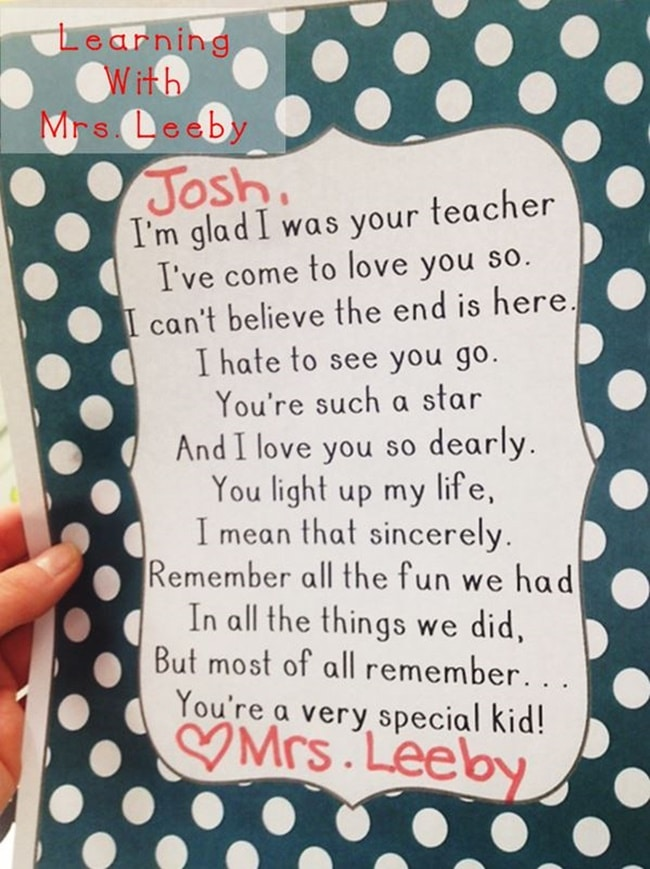 Goodbye Letter for the End of the Year - Teach Junkie - goodbye note