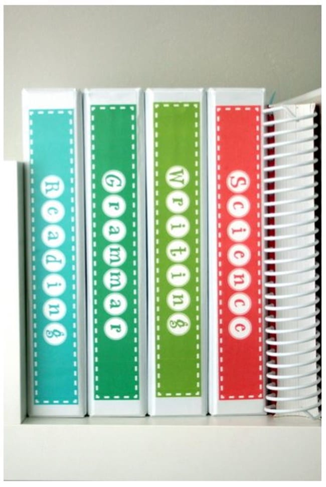 Subject Binder Spine Labels - Free Printable - Teach Junkie