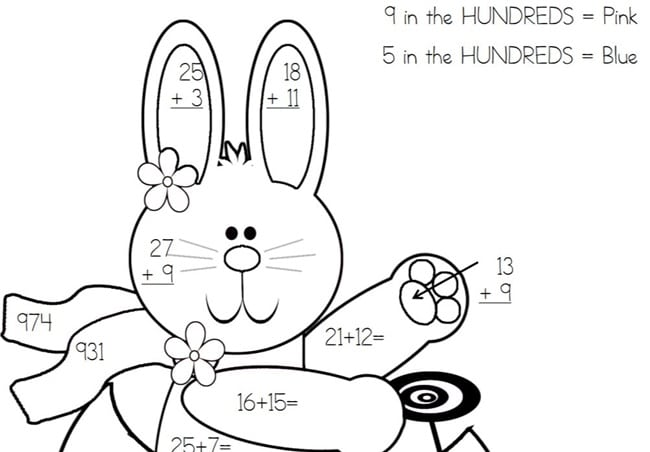 Place Value Easter Bunny Color By Code - Teach Junkie - place value worksheet